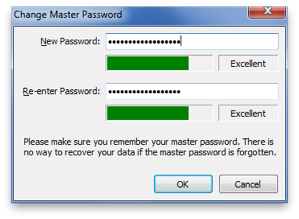 Change master password window