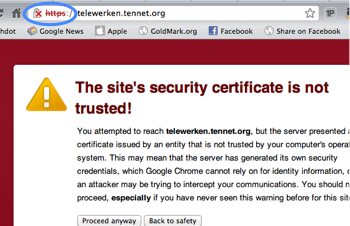 Untrusted certificate warning
