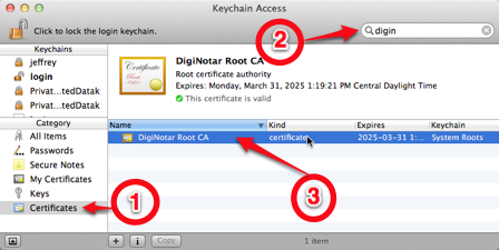 Select DigiNotar in Keychain Access