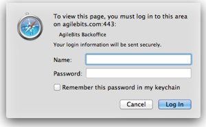 Safari Basic Authentication popup window