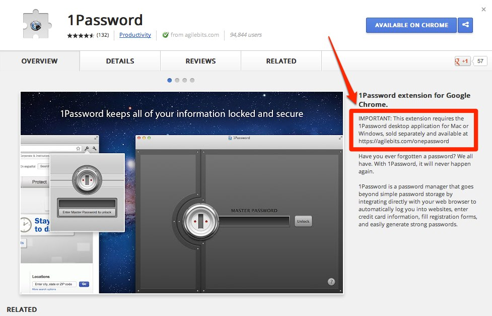 1Password 3 extension for Chrome running on a Samsung