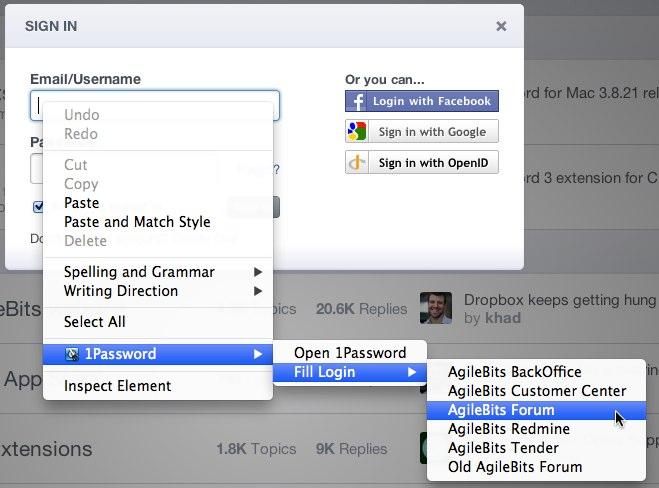 Where is right click auto-fill menu on Chrome/Mac? — AgileBits ...