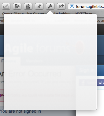 1Password's blank screen in Safari