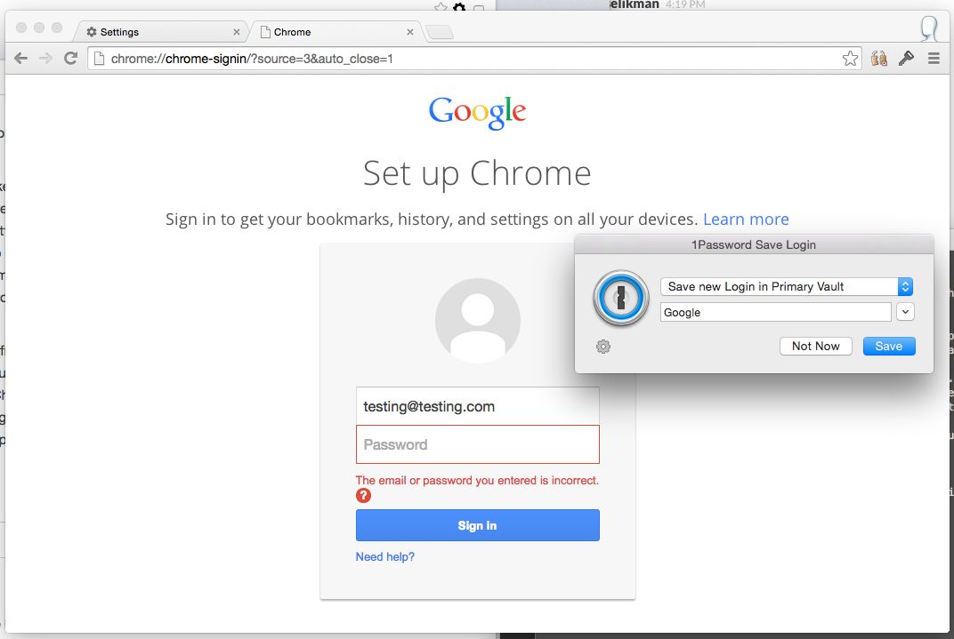 Signing in to Google account for Chrome sync fails