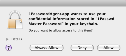 "1PasswordAgent.app wants to use your confidential information stored in ""1Passwd Master Password"" in your keychain"