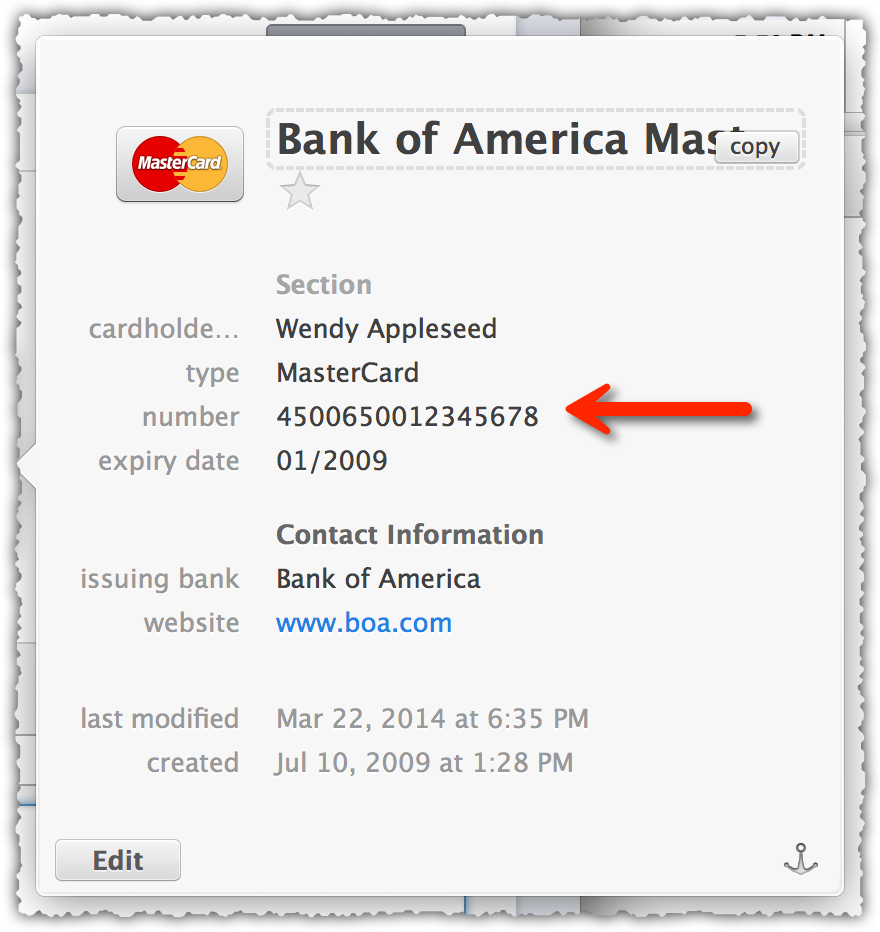 1Password Isn't Passing On The Digits-only Credit Card To