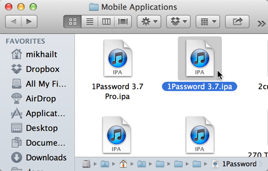 Finder showing IPA files